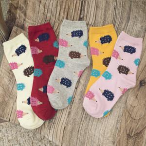 20191007 Novos meias das mulheres com padrão de desenho animado ouriço
