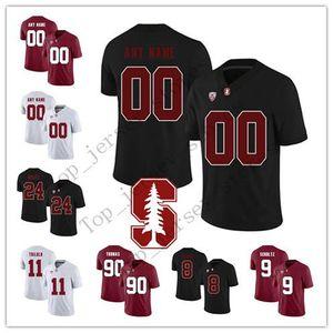 Özel Stanford Cardinal Herhangi İsim Numara beyaz siyah, kırmızı 15 Davis Mills 5 Christian McCaffrey 3 KJ Costello 12 Luck kolej futbol Jersey