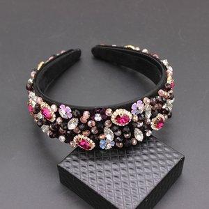 Accesorios para el cabello hechos a mano de la boda Encanto de lujo Lentejuelas barrocas Bead Crown Tiara Hair Bands Crystal Headband 269 J190701