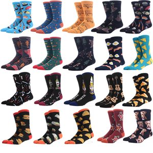 Men's Socks Funny Big Size Alien Delicious Food Print Colorful Snacks Burger Pizza Happy Socks Harajuku Skate Cotton Sokken