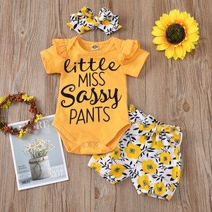 Vêtements pour enfants New 2020 Lettre d'été Explosion Fleur manches Vol T-shirt + Short et ceinture + Turban