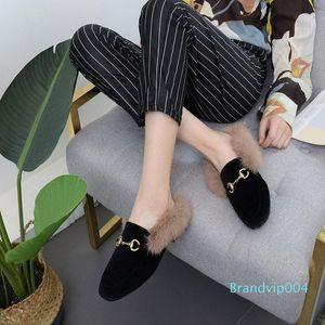 Pretty2019 Baby-Kaninchen-Haar-dawdler warm halten Frau England Wind Halb unten Nudeln Metallschnalle Einzel Schuh