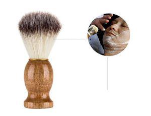 Nouveau Santé Hommes Rasage Brosse Salon Hommes Facial Barbe Nettoyage Appareil De Rasage Outil Rasoir Brosse avec Poignée En Bois pour hommes