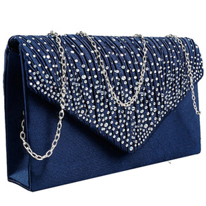 Damen große Abend Satin Bridal Diamante Damen Clutch Bag Party Prom Umschlag Tasche Geldbörsen