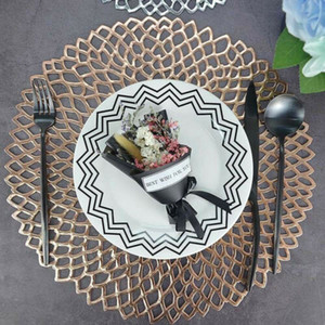 2019 Nuevo Home Dining Bar Restaurant Round PVC Hollow Coaster Table Placemats Mats Anti-escaldado Aislamiento Table Mat Table Steak
