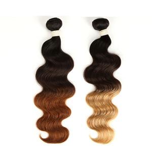 3 Tone Ombre Hair Extensions 3 Pacotes indiana do cabelo humano onda do corpo 1B 4 27/30 indiana Ombre Tece cabelo