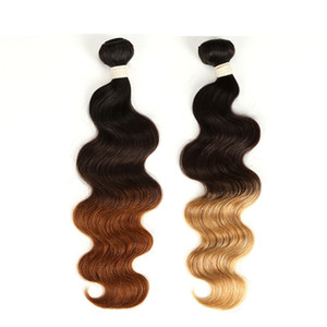 3 Ton Ombre Saç Uzantıları 3 Paketler Hint İnsan Saç Vücut Dalga 1B 4 27/30 Hint Ombre saç örgüleri