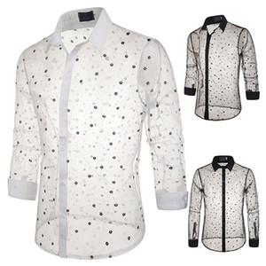 2020 Hommes de luxe de Hot dentelle T-shirt transparent imprimé style flocon de neige à manches longues sexy Polo design unique Costume de scène Homme
