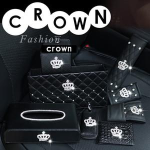El tejido de la corona de diamantes caja de freno de mano cubierta y cambio de marchas cubiertas de asientos de coches Cubre Cinturón labra los accesorios interiores