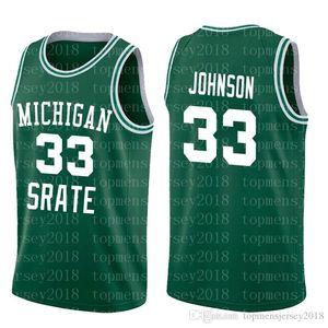 NCAA Michigan State Spartans 33 Earvin Johnson Magia Verde Bianco Collegio 33 Larry Bird alta School6655655