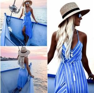 Impreso para mujer raya asimétrica vestidos de la manera de la correa de espagueti sin respaldo vestidos sexy V vestidos de cuello con los marcos