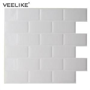 Auto-adhesivo impermeable Antecedentes de TV 3D Tile ladrillo Fondo de Pantalla de estar Cocina mosaico etiqueta engomada de la decoración de la pared de papel Inicio