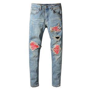 Brand New Mens Jeans Distressed Ripped Biker Designer Jeans Slim Fit Motorcycle Biker Denim Jeans 2019 Fashion Designer Pants B100801K