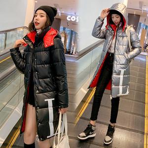 La chaqueta del invierno de las mujeres de moda brillante Negro de la chaqueta de algodón de impresión Carta-Escudo Espesar con capucha larga de invierno a prueba de viento de Down Parka Mujer