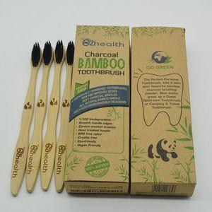 فرشاة أسنان صديقة للبيئة للكبار من الخيزران ، شعيرات ناعمة ، صديقة للبيئة