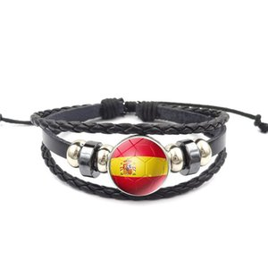 Leahter Bracelet Jewelry With Glass Cabochon Spain Brazil National Flag Charm Bracelet Wrap Brazalete de cuero genuino