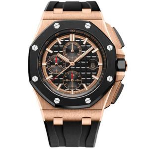 Deluxe relógio Homens 44 milímetros VK chronography movimento de quartzo 26400 série mens 12 estilos assistir borracha strap impermeável relógio de pulso de moda luminosa