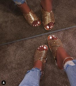2020 Amoi Elmas Avrupa Güzellik Ayakkabı Sandalet Terlik Kaymaz Giyilebilir Rahat Plaj Günlük Boyut 37-42 Altın Gümüş Kayma