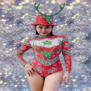 T86 Women ballroom dance stage costumes elastic long sleeve female bodysuit rhinestone red jumpsuit disco dress clothing bar party wears