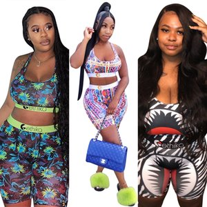 Fashion Sexy Printed Color Vest Shorts Suit Women Sportswear Casual Two Piece Set Pants 2020 Summer Jogger Tracksuit Home Outdoor Outfits