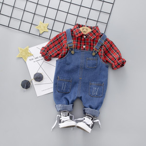New spring baby boy plaid long sleeve cotton t-shirt+blue denim braces pants clothing sets free shipping