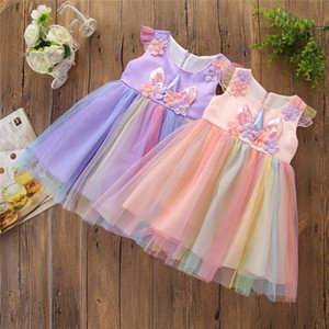 Baby Girls Princess Dress Toddler Girls Unicorn Dress Kids Casual Clothing Rainbow Mesh TUTU Dress Floral Bow-Tie Pleated Skirt 06