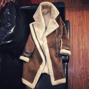 Plus la taille 2XL Femmes agneaux manteau de laine moyen long épais manteaux chauds en peau retournée daim fourrure de cuir Vestes automne hiver