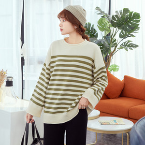 DMLFZMY Striped long-sleeved needle sweater women's Korean version of the autumn 2019 new loose lanlan round neck shirt