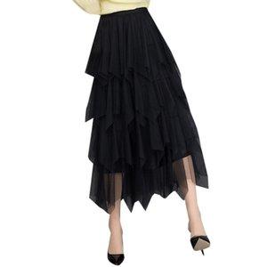 Jaycosin Kadınlar Moda Mesh Patchwork Pileli Uzun Etekler İçin Bayanlar Yüksek Bel Tutu Etek İçin İlkbahar Sonbahar Giyim