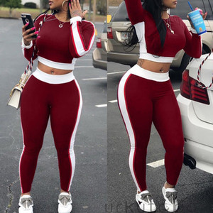 2Pcs Lovely Leisure Round Neck Patchwork Black Two-piece Pants Set Women Ladies Tracksuit Hoodies Sweatshirt Crop Tops+Pants