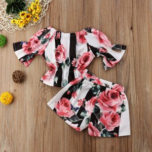 2pcs Toddler Clothes Girls 1-6y Clothes Set Designer Tunic Floral Tops +Shorts Kids Set Outfits Stripe Oqian