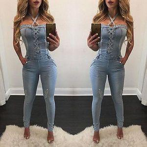 2017 yeni moda seksi yaz bandaj Kadınlar Moda Denim Jeans BIB Pantolon Tulumları Sapanlar Tulum Tulum Pantolon