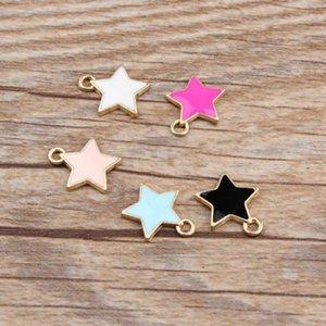 20pcs / lot Fashion Star Shape Amoureux Goutte d'huile Charms Charm en alliage Pendentifs Charms émail métal pour la fabrication de bricolage bijoux