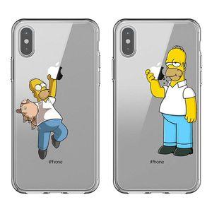 Engraçado Simpson comer a maçã forma logo silicone macio Casos TPU telefone iPhone For Cover 11 Pro MAX 5S 6 6SPlus 7 8plus X10 XR XS MAX