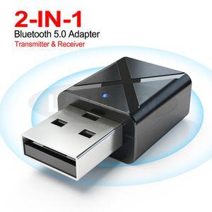 2 1 USB Bluetooth 수신기 송신기 5.0 무선 스테레오 음악 오디오 어댑터 동글 TV PC 블루투스 스피커