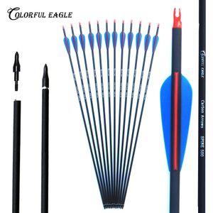 Substituível seta cabeças 28/30 / 31inch misturar carbono seta 500 da coluna, caça prática do arco para arco composto ou Recurvo curva setas caça