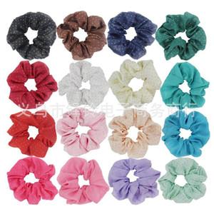 19 di colore delle ragazze delle donne di colore solido chiffon tessuto elastico Anello legami dei capelli Accessori Ponytail Hairbands Rubber Band Scrunchies Bronzing