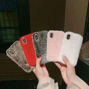 Moda de lujo de conejo Rex pelo del diamante TPU piel de la felpa del teléfono celular para el iPhone 11 Pro X XS Max XR 8 7 6 Mobile Shell invierno caliente de la cubierta suave