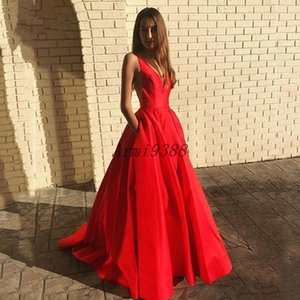Red A Line V Neck Backless Prom Dresses Sweep Train Satin Formal Evening Party Gowns Prom Dress With Pockets Vestidos De Soiree