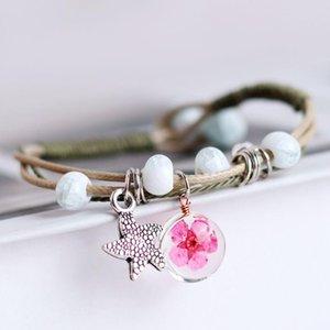 Nouveau mode Verre Vintage Boho Charm Bracelet main réel à sec Fleur Boule Weave Bracelet réglable Bracelets pour les femmes