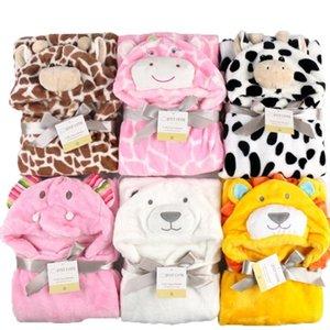 Lovely fleece baby bath towel cute animal shape kid hooded baby towel bathrobe cloak baby receiving blanket neonatal hold to be Y200429