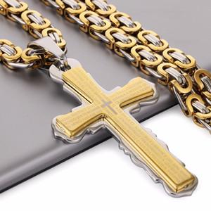 Stainless Steel Necklaces Pendants Gold Black Tone Fleur-de-lis Cross Pendant Necklace Long Byzantine Chain Men Jewelry NZ004787e#