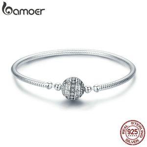 Bamoer Otantik 100% 925 Ayar Gümüş Göz Kamaştırıcı Temizle Cz Yuvarlak Toka Yılan Zincir Bilezik Gümüş Takı Scb062 T190702