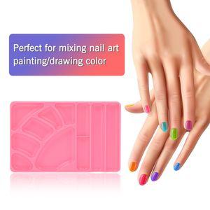 Plástico Nail Art Palette UV Gel Polish Painting Drawing Pigment Holder Plate Maquillaje Caja de herramientas mixtas Herramientas de manicura