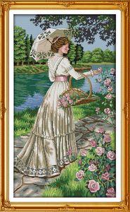 Sammeln Blumen schöne Dame Dekor Malerei, handgemachte Kreuzstich Stickerei Hand setzt gezählt Druck auf Leinwand DMC 14CT / 11CT