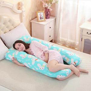 Al por mayor 130 * 80cm de embarazo cómodo forma de U de maternidad almohadas de embarazo de dibujos animados cuerpo de la almohada mujeres embarazadas cojín lateral Traviesas
