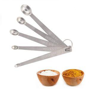 5 pz / set In Acciaio Inox Rotondi Cucchiai Da Cucina Strumenti di Cottura per Misurare Liquido Polvere Torta Strumento di Cottura HHAA613