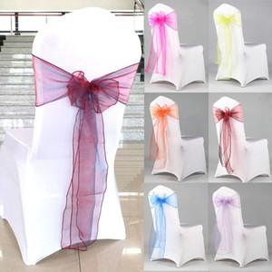 Organza Silla Sash Bow For Cover Banquete Banquete de boda Evento Chrismas Decoración Sheer Organza Tela Silla Cubre Fajas DHL WX9-1282 gratis
