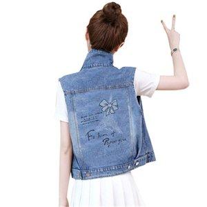Denim Waistcoat Women Spring Summer Plus size 5XL Slim Sleeveless print Jacket Jeans Women Short Coat Vintage Vest Female Tops