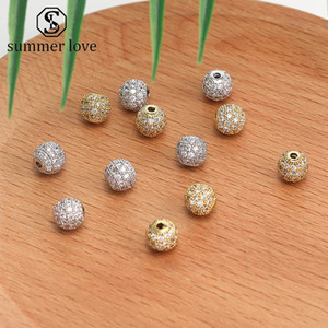Handmade Jewelry DIY Accessories Zirconia Crystal Spacer Loose Beads 6mm 8mm Gold Silver Copper Round Beaded Bracelet Necklace Connector